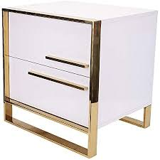 ukmaster nachtschrank nachtkommode nachttisch mit 2 schubladen boxspringbett für wohnzimmer schlafzimmer golden rahmen weiß