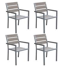 Sun Bleached Grey Outdoor Dining Chairs, Set Of 4 Comfortcare 5piece Metal Outdoor Ding Set With 52 Round Table T81 Chair Provence Hampton Bay Mix And Match Stack Patio 49 Amazoncom Christopher Knight Home Lala Grey 7 Chairs Of 4 Tivoli Tub Black Merilyn Rope Steel Indoor Beige Washington Coal Click Pc Stainless Steel Teak Modern Rialto Rectangle 6