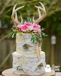 Rustic Boho Birch Cake Trending For 2017 Weddings Edible Antlers Realistic Tree