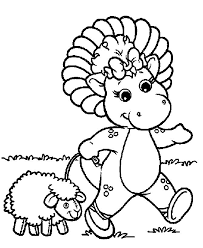 Barney Playing With A Lamb Coloring Pages For Kids Printable