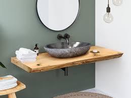 solid waschtischplatte aus eiche mit baumkante spa ambiente