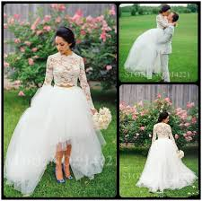 2 Piece Gowns Vintage 2016 Rustic Hi Lo Bridal O Neck Appliques Lace Full Sleeve White Women Wedding Dress In Dresses From Weddings Events