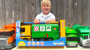 Toy Garbage Truck Videos For Children - Toy Bruder Garbage Trucks ...