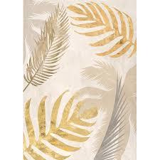 bilder wohnzimmer ideen leinwand bilder palmblätter gold iii