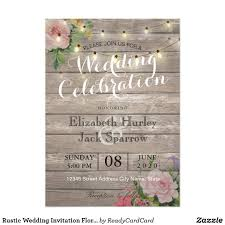 Rustic Wedding Invitation Floral Wood String Light Rustic Floral