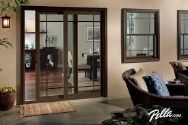 Pella 350 Series sliding patio door accents Prairie style