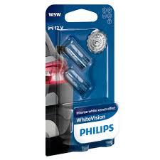 501 philips white vision ultra 12v 5w w5w wedge bulbs pair