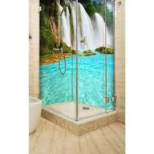 eckduschrückwand mit motiv 2 x 90x200cm aluverbund 3mm wasserfall im regenwald duschpaneel duschwand ohne fliesen du078