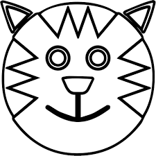 Cartoon Smiley Face Outline Cat Coloring Page