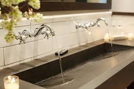 Trough Sink Vanity With Two Faucets by Bathrooms Design Long Bathroom Sink With Two Faucets Trough Best