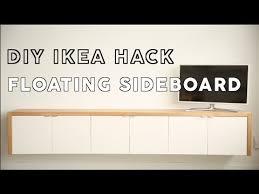 Wall Mounted Desk Ikea Hack by Diy Floating Sideboard Ikea Hack Theworktop Youtube