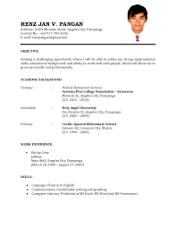 Sample Of Resume Application