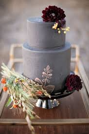 Fall Grey Wedding Cake With Burgundy Flowers