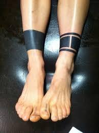Nice Black Tribal Ankle Band Tattoo