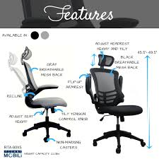 techni mobili chair assembly modern high back mesh executive office chair with headrest and