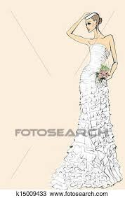 Drawing Bride in wedding dress with a bouquet of roses on a pink background