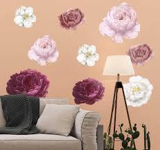 rosa und weiße blumen wand aufkleber