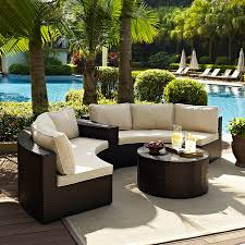Outdoor Deep Seating Sectional Sofa by Crosley Catalina Outdoor Wicker Round Sectional Sofa With Coffee