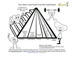 Fun Kids Food Pyramid Healthy Hearts Coloring Page Free Printable Nutrition Learn And Color Cute Worksheet For Heart Health