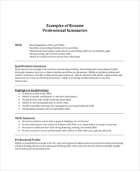 Resume Professional Summary Example For Examples