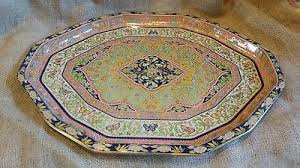 Daher Decorated Ware 11101 by Daher Decorated Ware 11101 Round Tin Plate Platter Orange Brown
