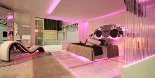 Sparkling Pink LED Strip Lighting For Romantic Master Bedroom Ideas With Unique Chaise Lounge Using Modern Interior Design
