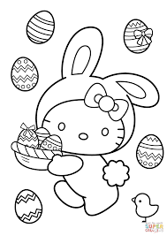 Hello Kitty Easter Coloring Pages Bunny Page Free Printable Picture