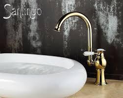 rétro salle de bains lavabo robinet mitigeur levier unique or