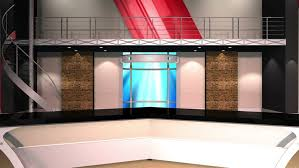 Stock Video Of News Studio Set Background Animation With