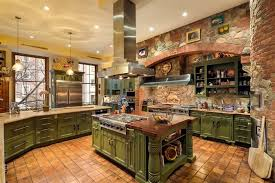 Intricate Country Kitchen With Brick And Stone Work Throughout Cabinetry Is A Textured Green