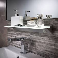 edge lit glass panels kitchen floating shelf with recessed
