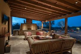 Outdoor covered patio lighting patio southwestern with wood