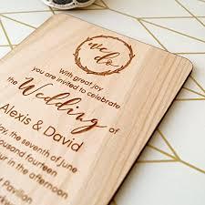 Wooden Wedding Invitation Rustic Invites Real Wood Invitations Laser Engraved