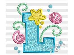 Mermaid Letter L Applique Embroidery Design by EmbroideryLand