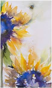 Watercolor Sunflower IdeasSunflower WatercolourWatercolor Paintings AbstractAbstract Flower ArtSimple