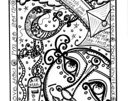 Hippie Art Coloring Book A Strange Little Moon Single Sided Bound Without Holes