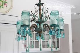 jar chandelier with vintage blue jars jar