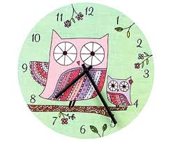 Large Colorful Wall Clocks Childrens Clock With Owl Motiff Multicolor
