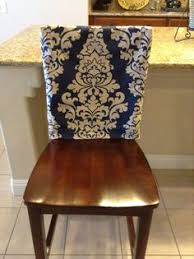 Chair Back Cover Indigo Fitted Kitchen Or Dining Room Slipcover Linen Blend Damask Print Washable Cashmere Blue