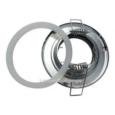 fixation spot salle de bain etanche chrome pour oule halogene