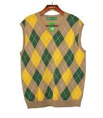 argyle golf sweater vest khaki dark green yellow mens