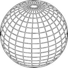 Earth Globe Line Coloring Page