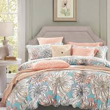 Peach Grey And Sky Blue Vintage Floral Bedding French Country