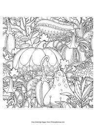 Fall Coloring Page Pumpkins Berries And Leaves