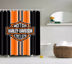Harley Davidson Logo Home Decor Shower Curtain Bathroom Mat Fabric Waterproof