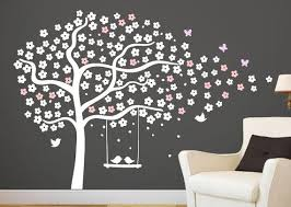 Pochoirs Chambre Bé Tree Wall Decals Nursery Cherry Tree Stencil White Tree Sticker