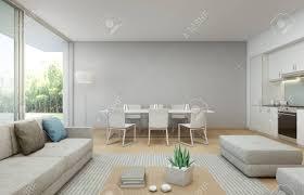 gartenblick küche esszimmer und wohnzimmer im luxus haus im modernen design ferienhaus für große familie 3d darstellung innenraum mit sofa