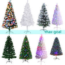 3 8ft Green White Snow Flocked Fiber Optic Artificial PVC Christmas Tree Stand