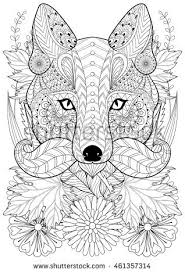 Zentangle Stylized Fox With Moustache On Flowers Hand Drawn Ethnic Animal For Adult Coloring Pages