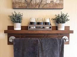Rustic Bathroom Shelf Towel Rack Entryway Shelves Wood